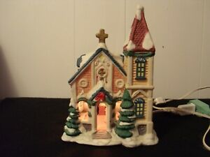 Christmas Village Church W/Preacher and Marrying Couple Inside~No Box W/Light