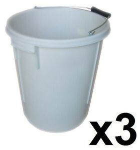 3 x 25L PLASTERERS MIXING BUCKET 25 LITRE PLASTERING BUILDERS WATER TUB HANDLE