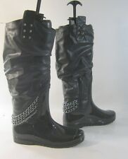 Black Snow Sexy Knee Boot Back Chain Top Side Spikes women Size 8