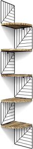 5 Tier Floating Corner Shelf Wall Mount Rustic Wood-For Bedroom Bathroom Kitchen