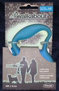 Petmate Walkabout 3 Teal Blue Glow In The Dark Retractable Leash Extra Small
