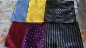 LOT OF 6 SILK POCKET SQUARES HAND MADE IN CHINA PATTERNS AND PLAIN NEW