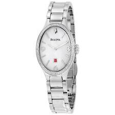 Bulova Diamond White Dial Stainless Steel Ladies Watch 96R192