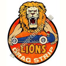 Aged Lion Drag Strip Sticker Hot Rod Willys Ford Gasser Hemi Flathead V8 Drag