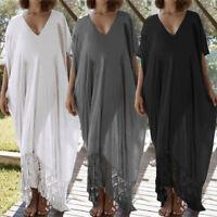 Plus Size Women Summer Beach Lace Dress Maxi Caftan Kaftan V-neck Long Sundress