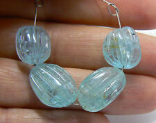 4 RARE NATURAL SEA BLUE CARVED AQUAMARINE NUGGET BEADS 12.5-15mm 37.5ctw