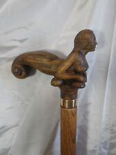 canne de marche bâton sirène  sculptée artiste Français walking  Knob  cane