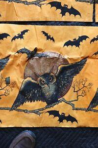 Vintage Halloween Crepe Paper Decoration Owl Moon & Bats