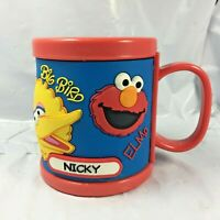 "2008 Sesame Street Place Workshop Cup cookie Monster Big Bird Elmo ""Nicky"" name"