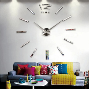 3d real big wall clock rushed mirror wall sticker diy living room home decor fas