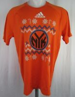 New York Knicks Orange adidas Cross Stitch/Christmas Style Men's T-Shirt NBA