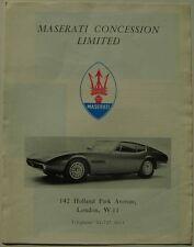 Intervallo MASERATI GHIBLI SEBRING Messico MISTRAL C. 1968 ORIGINALE UK FOLDOUT opuscolo