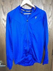 Specialized Cycling Bike Bicycle Race Jacket Coat Track Blue Long Sleeve