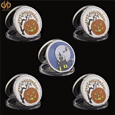 5PCS 2019 Happy Halloween Party Silver Coins Fluorescence Pumpkin Window Fluores