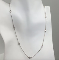 1.00 TCW Diamond By The Yard Station Necklace Round 14k White Gold G/ VS2 18""