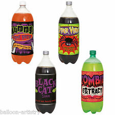 4 Assorted Zombie Extract Halloween Party Paper 2L Pop Soft Drink Bottle Labels