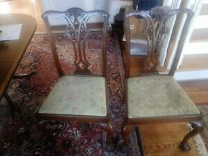 Pair of Chippendale Mahogony Dining Side Chairs Circa 1880