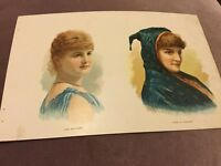 Antique Chromolithograph - Miss Whitacre & Isabella Urquhart - 1888