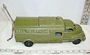 HUBLEY BELL TELEPHONE TRUCK DIE CAST METAL TOY 1950 LARGE VERSION