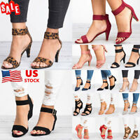 Womens Low Block/Wedge Heels Sandals Ankle Strap Buckle Hollow Out Sandals Shoes