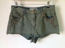 TOPSHOP SIZE 12 HIGH WAISTED BLUE GREEN DENIM HOTPANT SHORTS FESTIVAL BOHO STUDS
