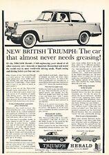 1960 Triumph Herald Original Advertisement Print Car Ad J650