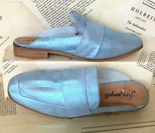 Free People Loafers Metallic blue Leather Slip On 40/ 9-9.5 NEW