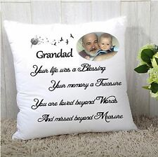 "PERSONALISED REMEMBRANCE MEMORY CUSHION COVER 16""x16""  PHOTO GIFT NAME"