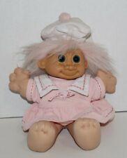 Vintage 11 Inch Russ Pink Dress Girl Troll Wishnik Character Doll Beret