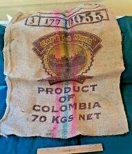 COFFEE BEAN BURLAP SACK, CAFE LA MINA, PRODUCT OF COLOMBIA, 70 KGS NET WT.