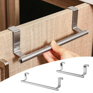 Stainless Steel Over Door Towel Hook Rack Cabinet Kitchen Storage Shelf Holder