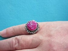 925 Sterling Silver Ring With Pink Titanium Drusy UK K 1/2, US 5.50 (rg2750)