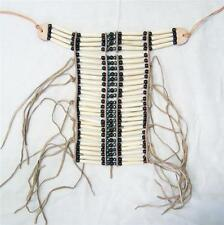 MED NATIVE INDIAN STYLE NATRUAL COLOR BONE BREAST CHEST PLATE new  beads LEATHER