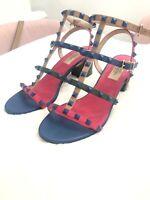 Valentino Rockstud Heeled Sandals Multi-Color Sz 39.5