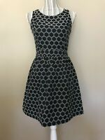MOONLIGHT Navy Textured Polka Dot A Line Dress with Back Cut Out  Size: Small