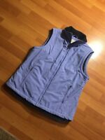 Women's LL Bean Nylon Fleece Lined Full Zip Vest Size Reg Small