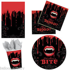 Vampire Bite Blood Horror Halloween Party Plates Napkins Cups Tableware Listing