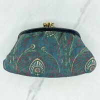 Liberty Of London Vintage Hera Peacock 2 Pocket Change Purse Clutch Wallet Bag