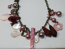 """Jasper Stone Pink Mother of Pearl MOP Charm Chain 18"""" Necklace 7d 73"""
