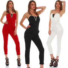 4957 bandeau Jumpsuit Party Overall Hosenanzug Hose in 3 Farben Gr. 36 38