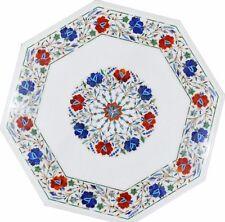 "21"" coffee Marble Table Top inlay handmade art Pietra Dura Work decor"