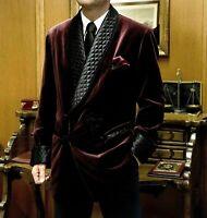 Men Vintage Suit Night Robe Smoking Jacket Shawl Lapel Blazer Velvet Custom Made