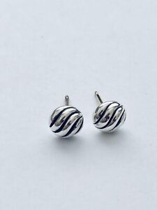 David Yurman 925 Sterling Silver Petite Small Sculpted Cable Stud Earrings