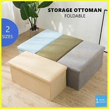 Large Folding Ottoman Storage Footstool Stool Blanket Box Pouf Seat Bench Linen