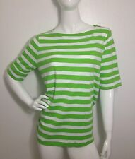 Ralph Lauren New Green Stripe Zipper Shoulder Blouse Top Pullover Plus 1X NWT