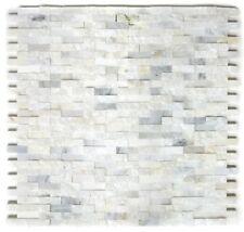 Mosaïque marbre pierre naturel Splitface blanc petit mur 40-3D11_f | 10 plaques