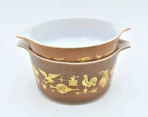 Vintage Early American Heritage Pyrex Casserole Dish Set of 2, Brown Gold #22, #
