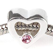 Amor Corazón Rosa B Genuino 925 plata encanto grano ajuste pulsera Europea