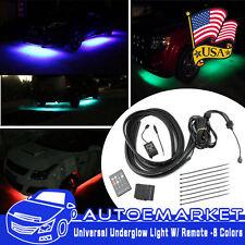 4X RGB LED Neon Light Strip Under Car Tube Underglow Underbody System Remote US