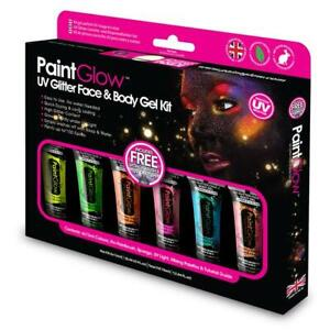 Paint Glow UV Glitter Face and Body Gel Kit 6 Glittery Colors Halloween Make-up